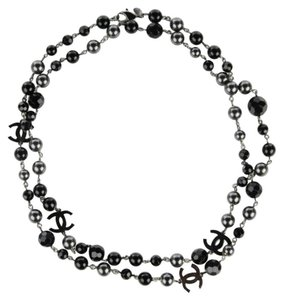 "Chanel BLACK Ruthenium Pearls Crystal Bead 4 Station CC Logos 45"" Classic 09V"