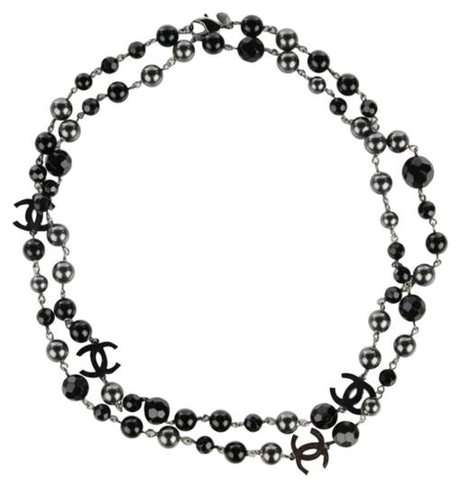 Preload https://img-static.tradesy.com/item/22290918/chanel-black-grey-silver-ruthenium-pearls-crystal-bead-4-station-cc-logos-45-classic-09v-necklace-0-0-540-540.jpg