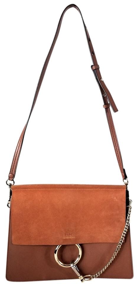 ad928dcf1e4b4 Chloé Faye Medium Classic Tabacco Leather and Suede Shoulder Bag ...