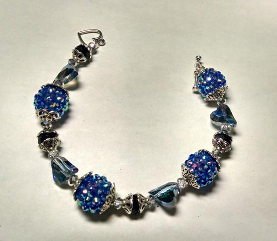 Other New Blue Crystal Hearts Disco Ball Bracelet Silver Jewelry J787