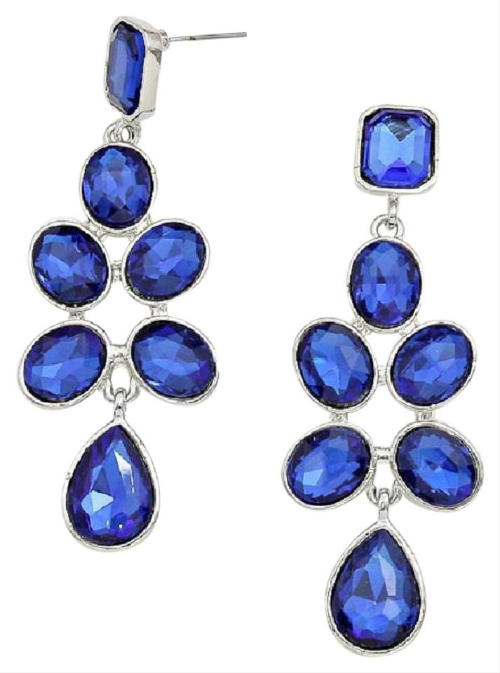 Sapphire blue crystals silver setting swarovski chandelier other blue sapphire swarovski crystals silver setting chandelier earrings aloadofball Image collections
