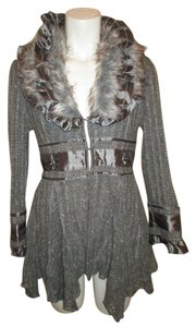 Nicole Sabbattini Faux Fur Asymmetric Knit Jacket Cardigan