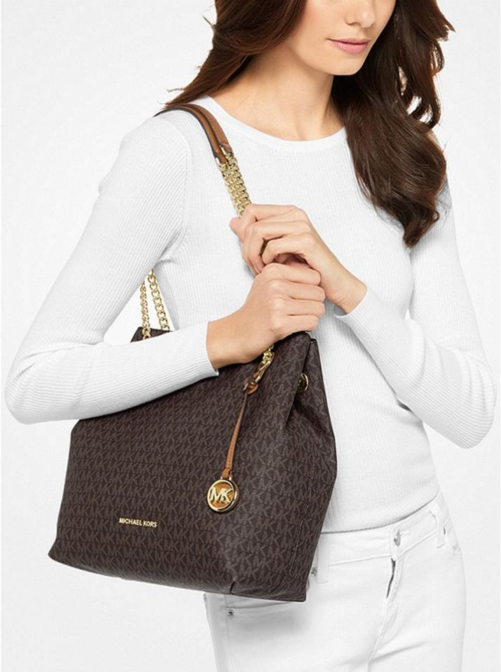 ceb582132178 Michael Kors Handbag Jet Set Mk Signature Monogram Logo Chain Tote Satchel  Hobo Brown Coated Twill Shoulder Bag - Tradesy