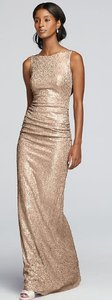 David's Bridal Gold Sequin Slight Stretch Tank Cowl Back Formal Bridesmaid/Mob Dress Size 12 (L)