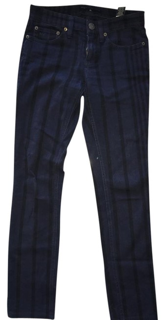 Item - Twilight Navy Multi Dark Rinse Striped M1111044 Straight Leg Jeans Size 25 (2, XS)