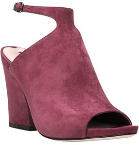 Via Spiga Suede Open Toe Heels Burgundy Sandals