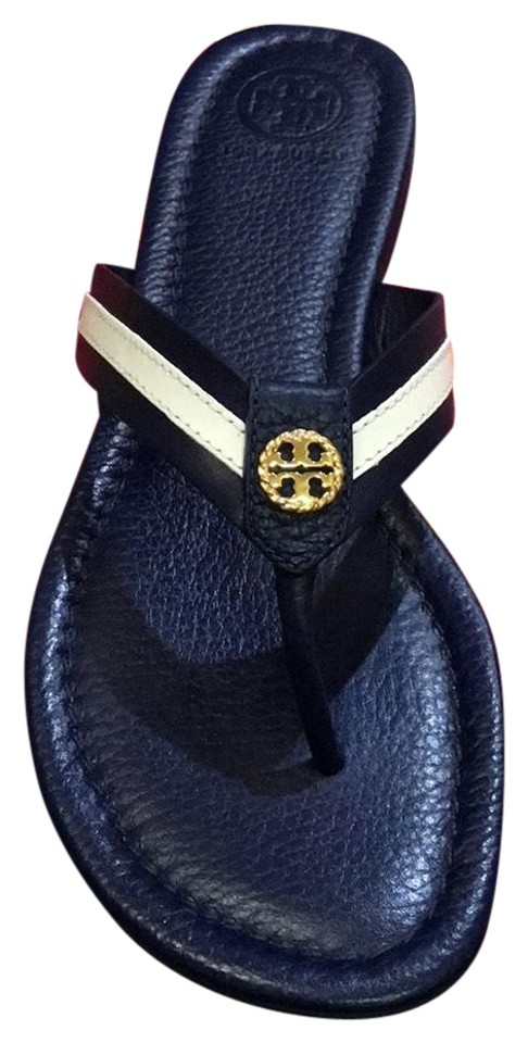 3218331b1e4 Tory Burch Blue New In Box Maritime Thong Navy Sea White Sandals ...