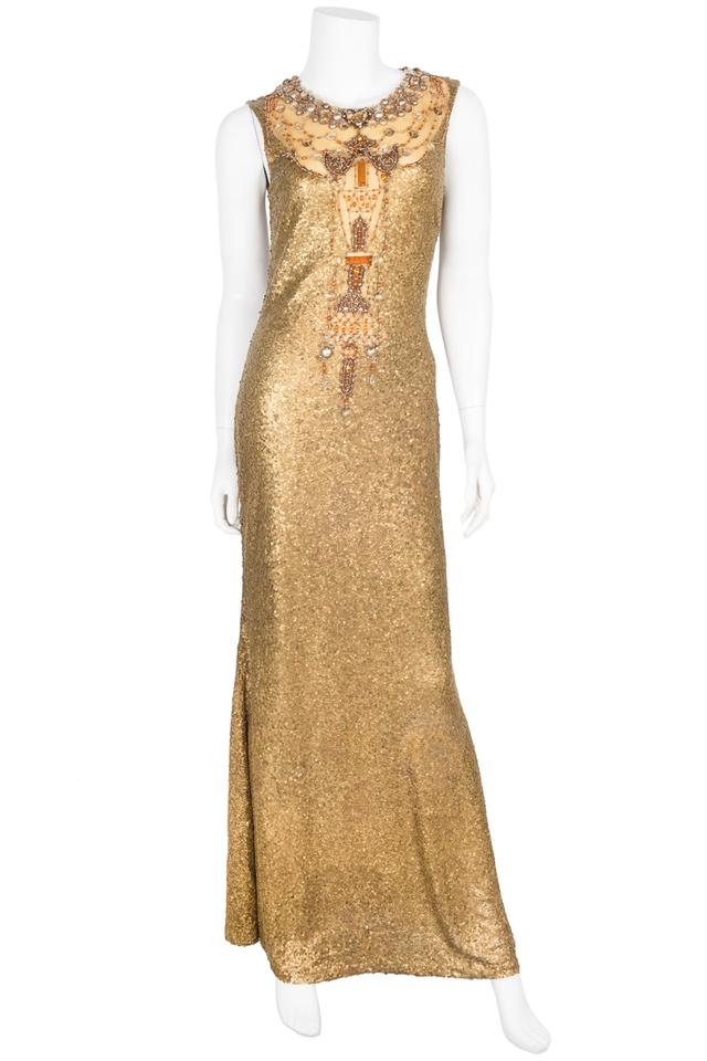 Gold Beaded Evening Dress