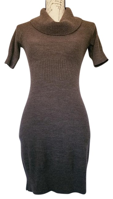 Brown Sleeve Sweater Short Casual Dress