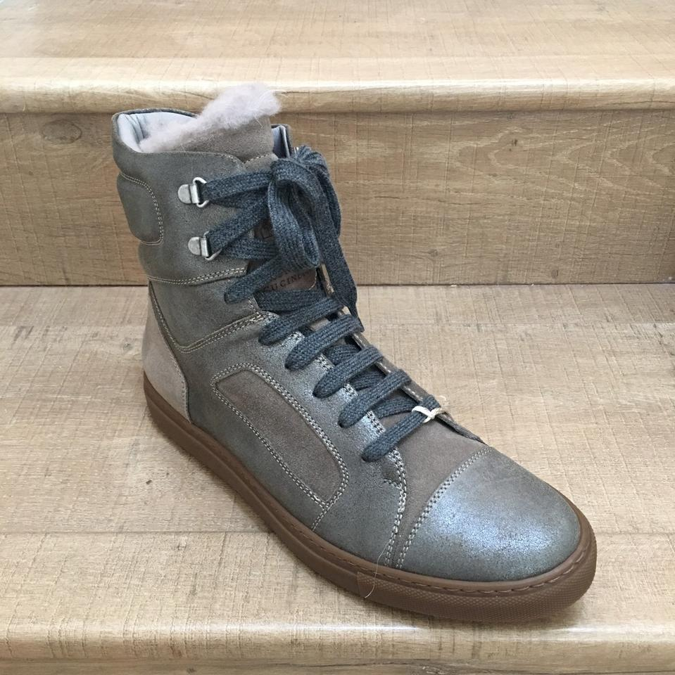 with Sneaker top High Brown Brunello Booties A Suede Fur Mettalic Cucinelli Boots Grey 8x6q1