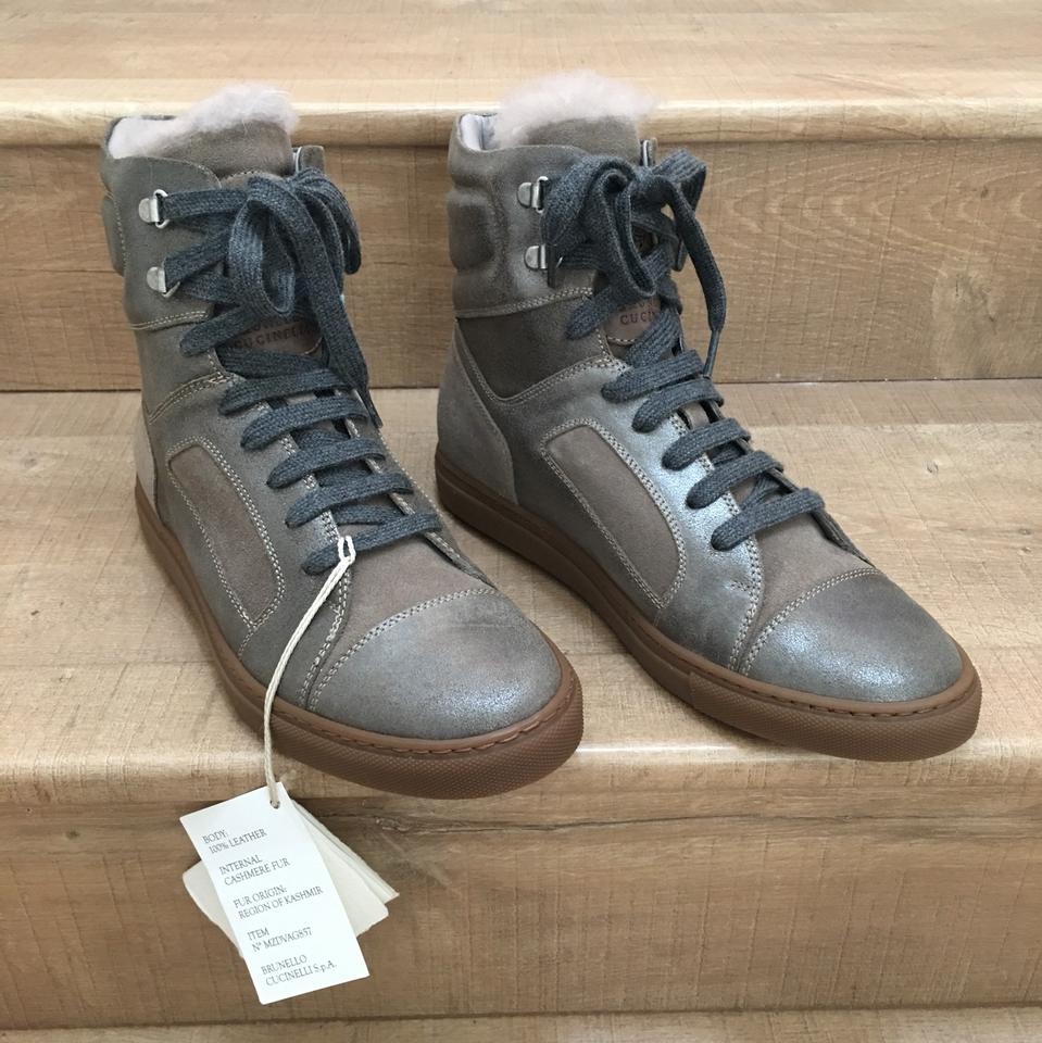 Boots Brunello Grey with A Brown Fur High Booties top Cucinelli Sneaker Suede Mettalic qw4BZFq