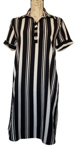 Free Press short dress Black, Tan and White Vertical Stripe Short Sleeve on Tradesy