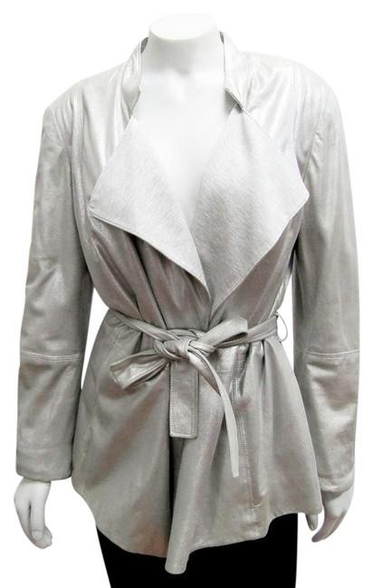 Item - Silver New Small Open Front Metallic Lamb Jacket Size 6 (S)