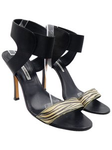 Manolo Blahnik Zebra Leather Beige Ankle Strap black Sandals