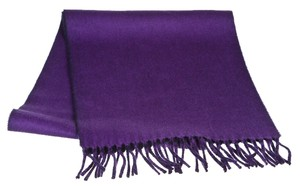 Hermes Hermes Purple and Navy Blue Monogram Cashmere Fringe Scarf