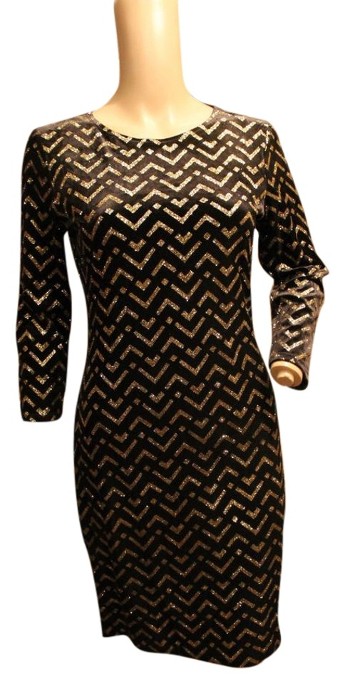38293abcd3ef Victoria's Secret Black and Gold Moda Sexy & Zig Zag 3/4 Sleeve Casual Dress