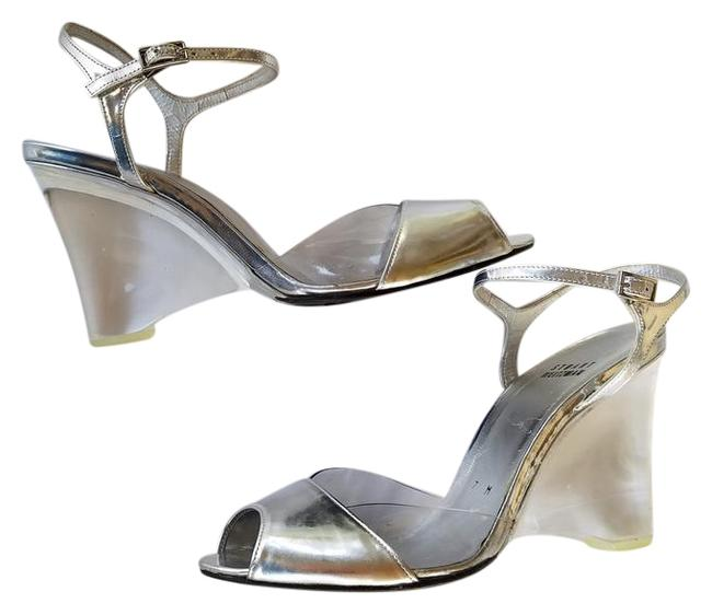 Item - Silver Leather Clear Acrylic M Wedges Size US 8 Regular (M, B)
