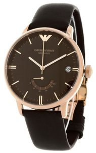 Emporio Armani Emporio Armani Brown Leather Strap Rose Gold Case Watch