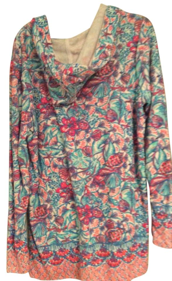 Lilly Pulitzer White Pink Blue Long Sleeve Whood Terry Cloth