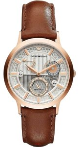 Emporio Armani Emporio Armani Brown Leather Strap Rose Gold Meccanico Watch AR4667