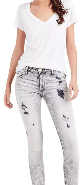 Item - Grey Distressed Halle Mid Rise Super Skinny Jeans Size 27 (4, S)