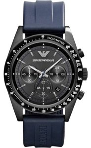 Emporio Armani Emporio Armani Watch, Men's Chronograph Blue Rubber Strap 43mm AR6113