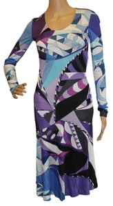 Emilio Pucci Purple Blue Viscose Boat Neck Longsleeve Sundress Print Abstract Scoop Neck Dress
