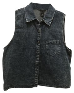 Forever 21 Button Down Shirt Washed Denim
