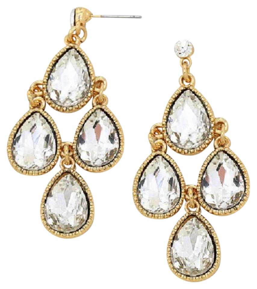 Clear crystals gold setting swarovski chandelier pierced earrings other clear swarovski crystal chandelier pierced earrings gold setting aloadofball Image collections