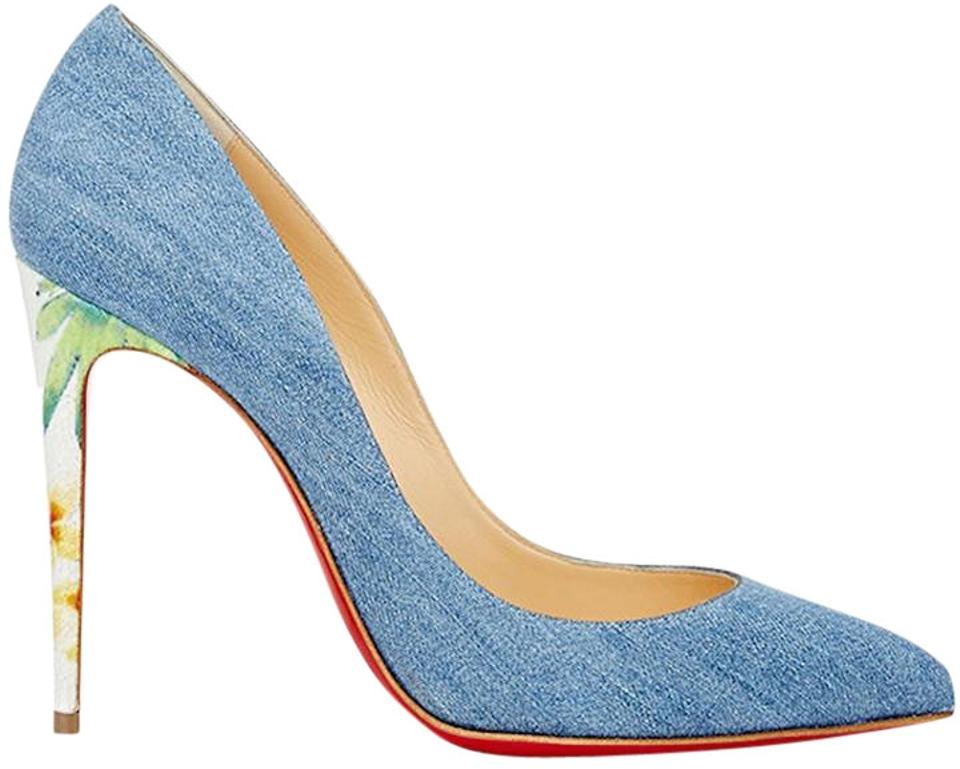 Christian Louboutin Denim Blue Pigalle Follies 100 White Denim Louboutin Hawaii Heel Pumps 5e5f8d