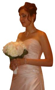 Sottero and Midgley Soft Pink Silk Worn As Maid Of Honor Formal Wedding Dress Size 4 (S)