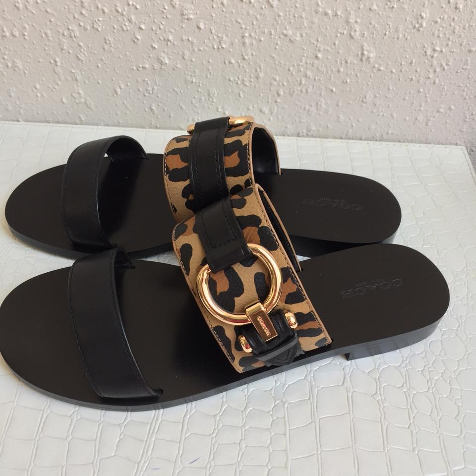 9537256f4d936 Coach Black Leather Animal Print Cindy Flat Sandals Size US 8 ...