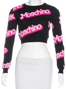 Moschino Longsleeve Monogram Logo Embroidered Embellished Sweatshirt