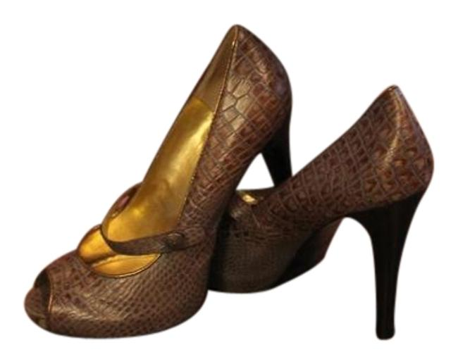 Item - Brown Hale-bob-brown-snakeskin-print-leather-maryjane-open-toe-pumps-cute-8 Wedges Size US 8 Regular (M, B)