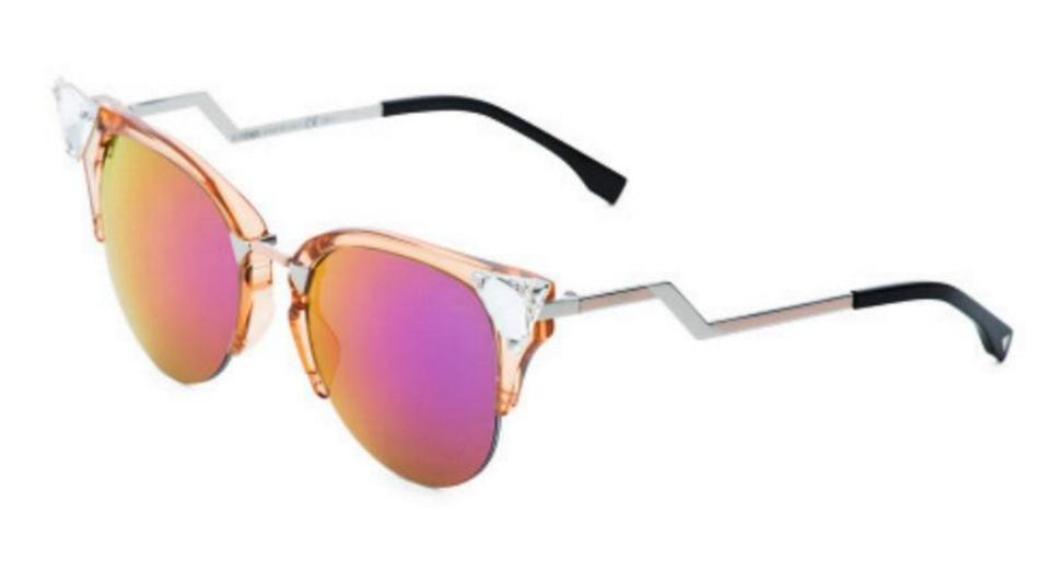 bc7f1e024b5b1 Fendi Peach Iridia Cat Eye Gold Crystal 0041 S Sunglasses - Tradesy