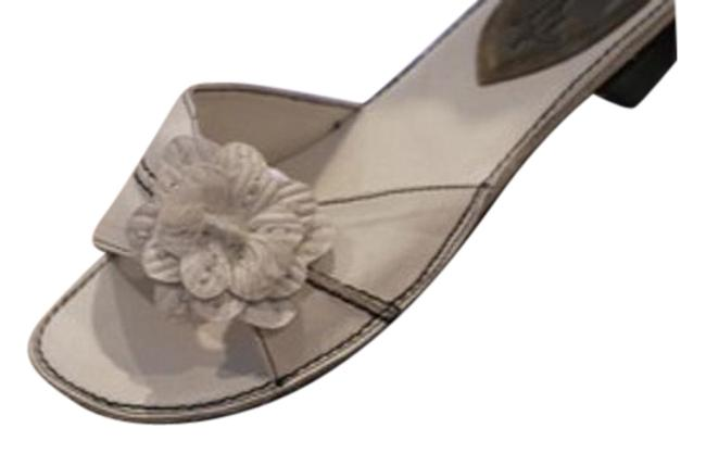 Item - White Soft Style Faux Leather Wedge Slip On Open Toe Sandals Size US 7 Regular (M, B)