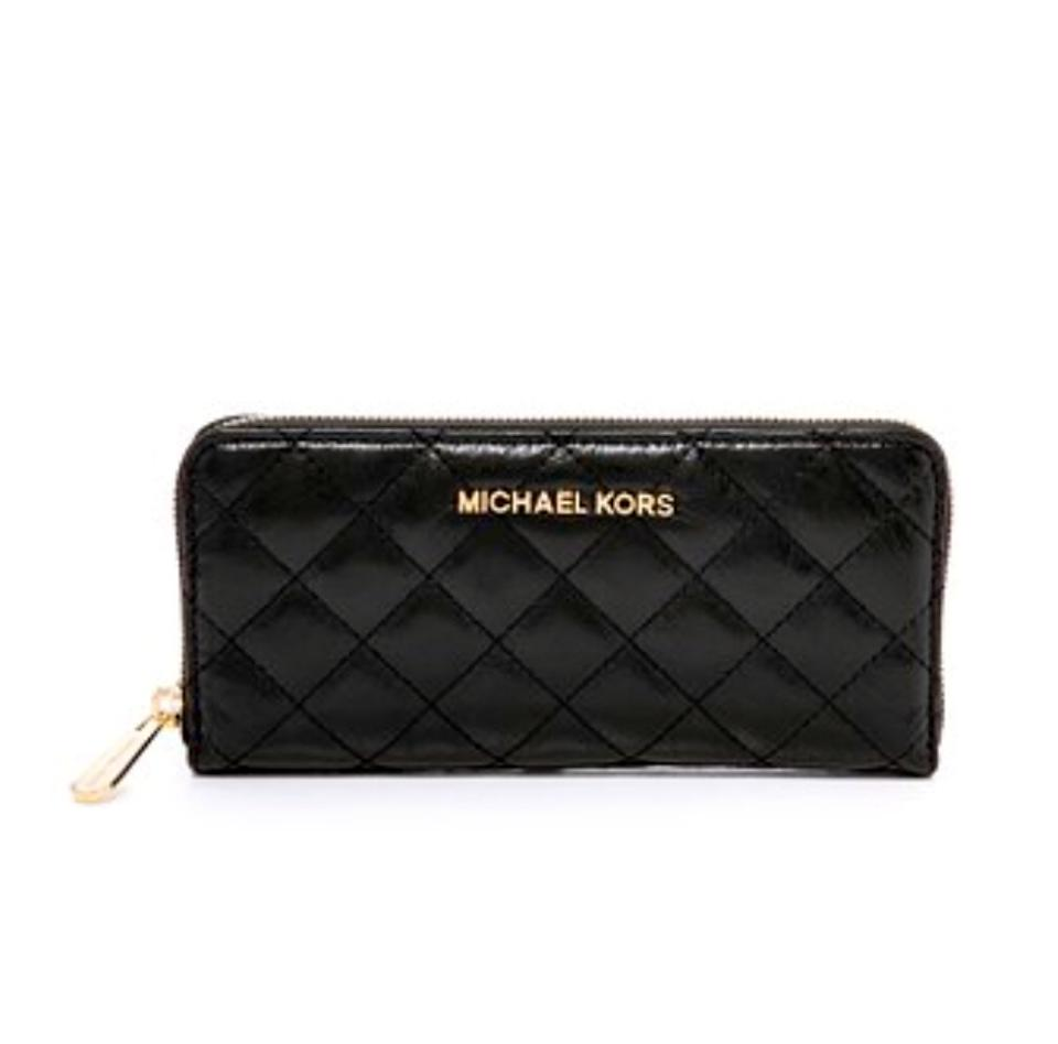 bfc370bcf9aa Michael Kors New Susannah Black Quilted Continental Zip Around Wallet.  Leather Clutch