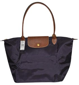 Longchamp Le Pliage Nylon Shopping Tote in Bilberry