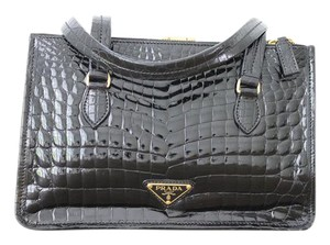 Prada Crocodile Cocco Lucido Satchel in Black