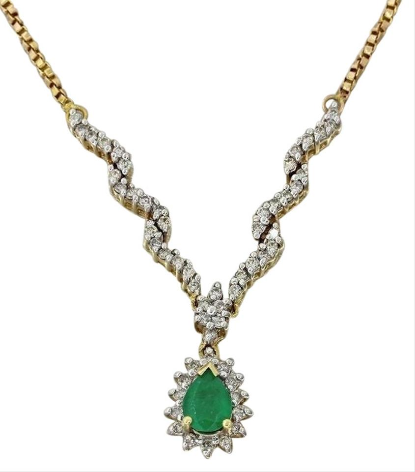 Yellow gold emerald green adl 14k solid 50ct 80ctw diamond pendant handmade adl 14k solid yellow gold 50ct emerald 80ctw diamond pendant necklace aloadofball Gallery