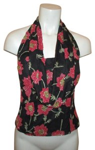 Andretta Donatello Beaded Cowl Halter Evening Floral Top black & pink