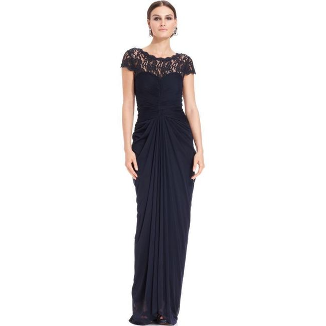 Adrianna Papell Wedding Gowns: Adrianna Papell Navy Women's Blue Illusion Lace Yoke Drape
