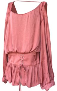 Free People Darling Dreamer Spice/Red Corset Waist Adorable Top Spice/Rouge