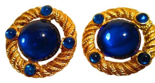 Park Lane Goldtone Earrings with faux blue stones