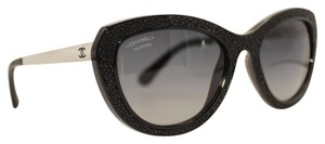 Chanel Polarized Cat Eye Black Jeweled Silver Sunglasses 6046-q c.501/S8