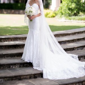 Aire Barcelona White Long Lace Cathedral - One Of A Kind Bridal Veil