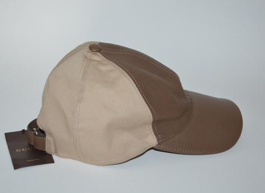 Gucci NWT GUCCI CALF LEATHER INTERLOCKING GG BASEBALL CAP HAT SZ LARGE Image 1