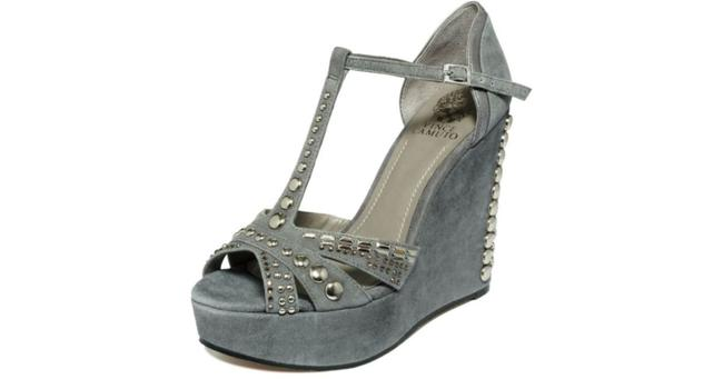 Vince Camuto Grey & Silver Women's Simonas Studded Sandals Wedges Size US 10 Regular (M, B) Vince Camuto Grey & Silver Women's Simonas Studded Sandals Wedges Size US 10 Regular (M, B) Image 3