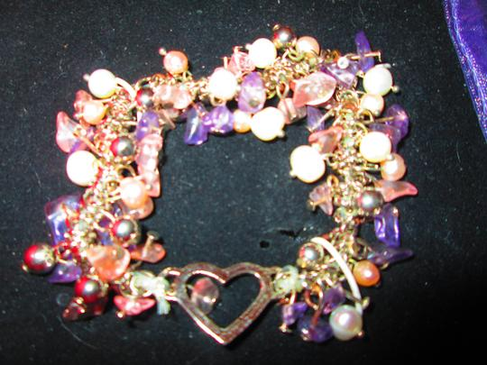 Other Silver/Lavender Beads Bracelet and Matching Earrings