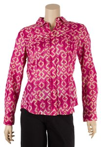 Michael Kors Cotton Blouse Button Down Shirt Fuchsia